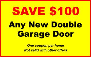100 dollars off new double garage doors