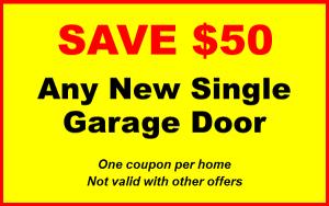 50 dollars off any new single garage door