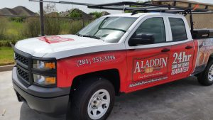 aladdin garage door service company truck